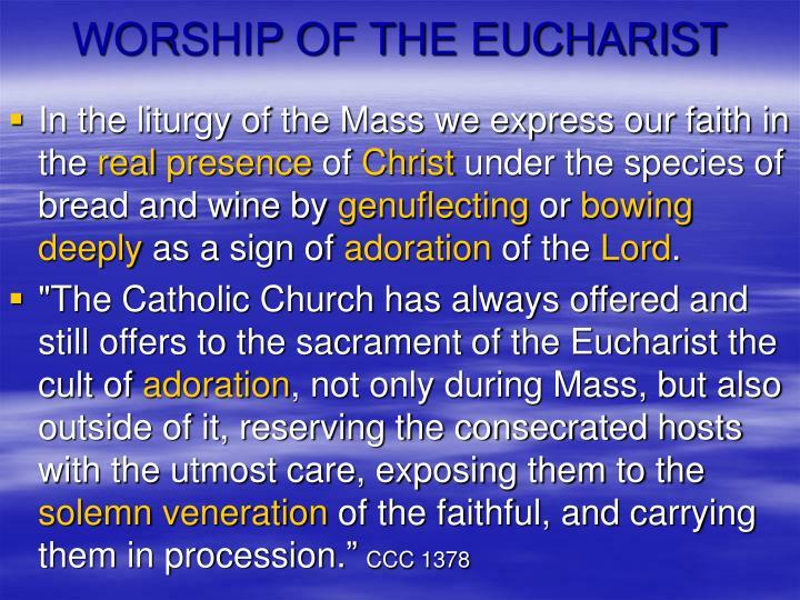 WORSHIP OF THE EUCHARIST