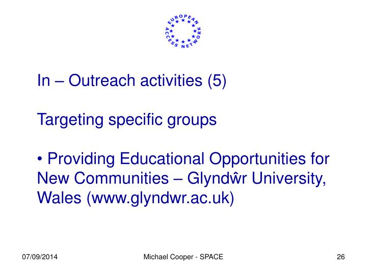 In – Outreach activities (5)