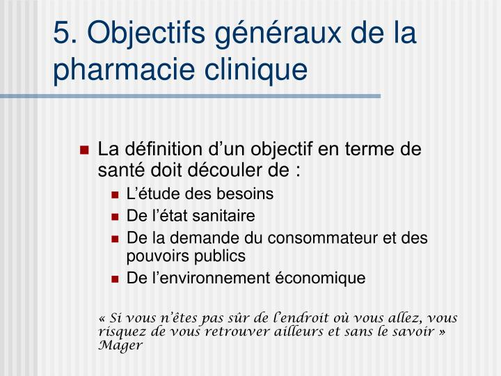 5. Objectifs généraux de la pharmacie clinique
