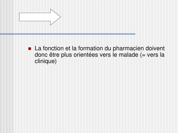 La fonction et la formation du pharmacien doivent donc