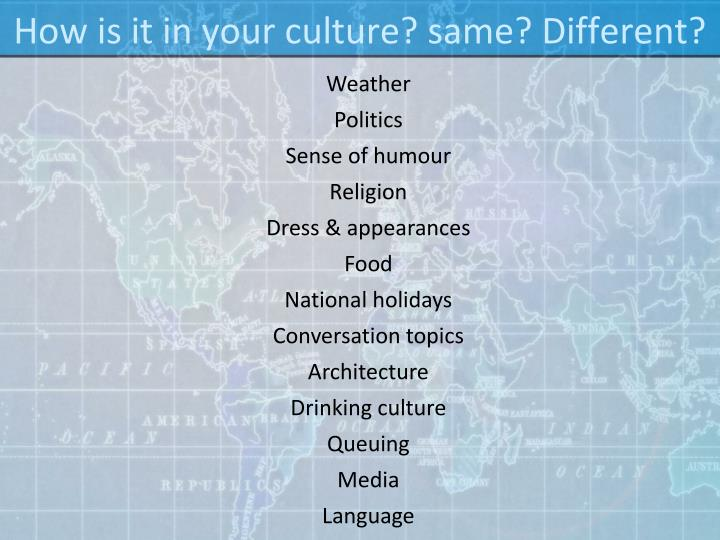 How is it in your culture? same? Different?