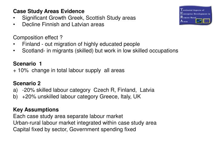 Case Study Areas Evidence
