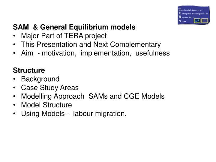SAM  & General Equilibrium models