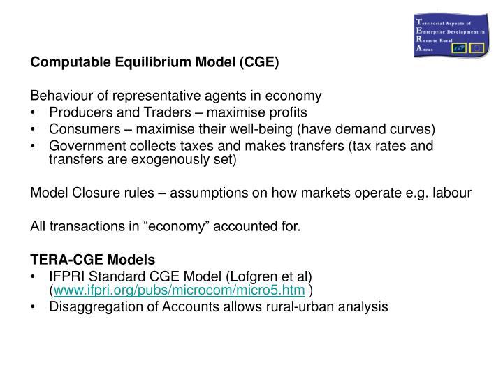 Computable Equilibrium Model (CGE)