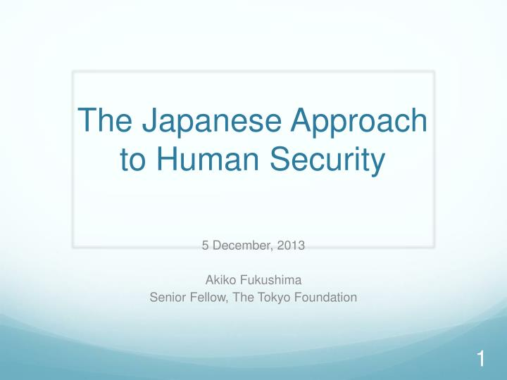 the japanese approach to human security
