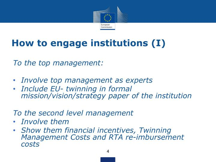 How to engage institutions (I)