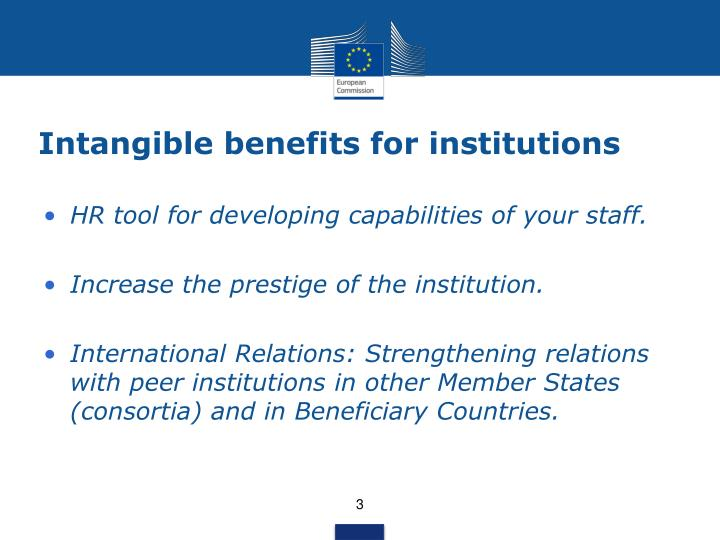 Intangible benefits for institutions
