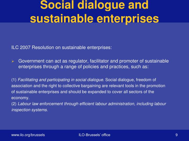 Social dialogue and sustainable enterprises