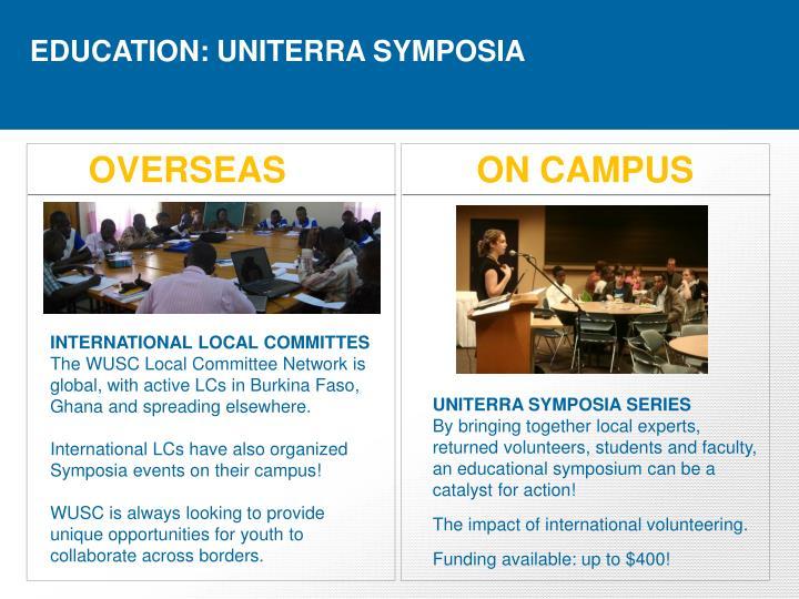 EDUCATION: UNITERRA SYMPOSIA