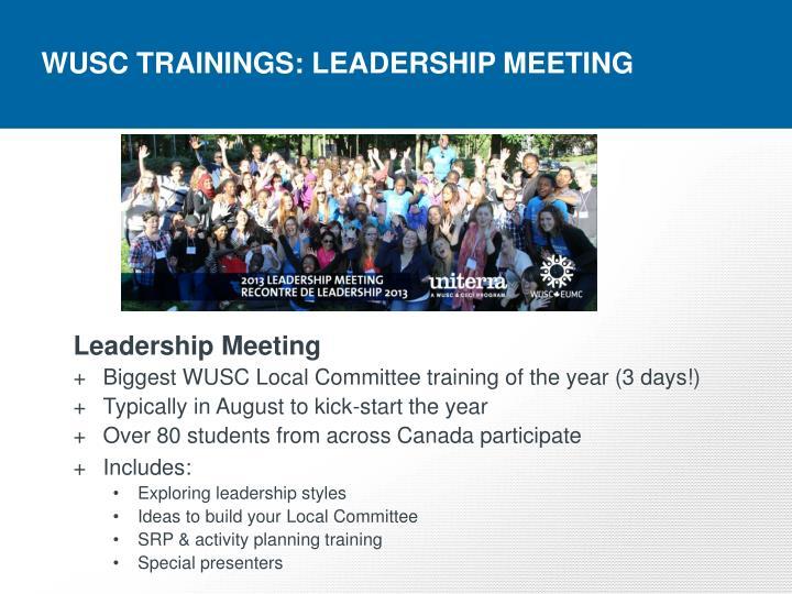 WUSC TRAININGS: LEADERSHIP MEETING