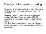 the council decision making