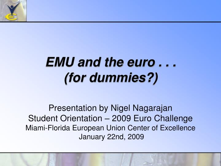 emu and the euro for dummies n.