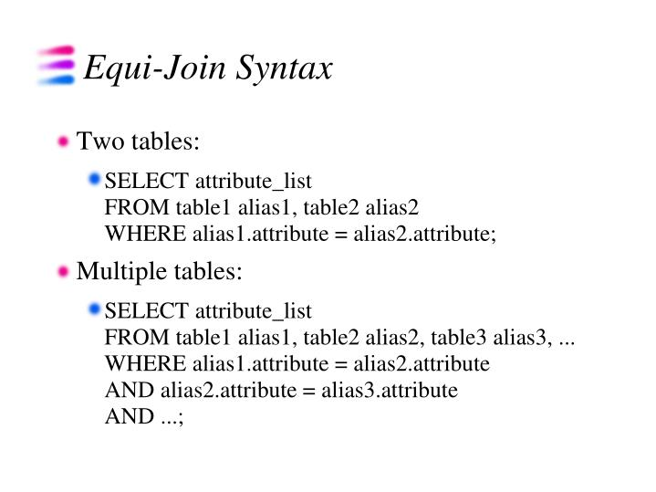 Equi-Join Syntax