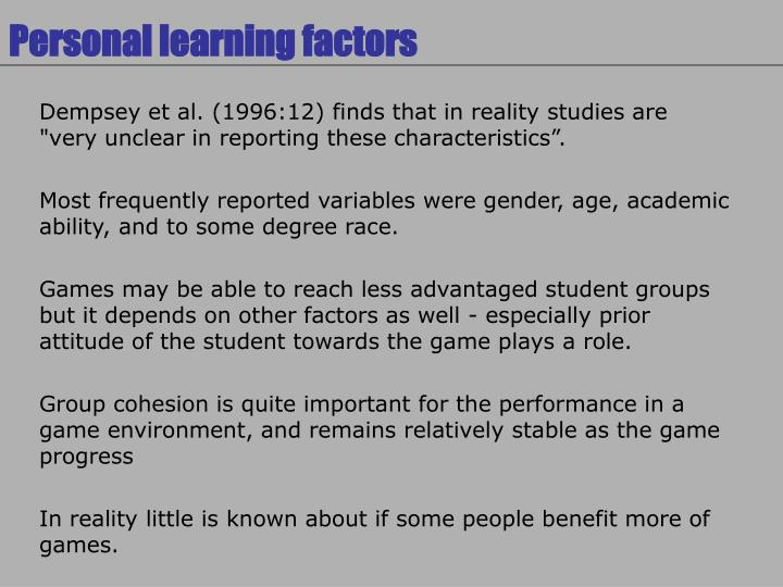 Personal learning factors