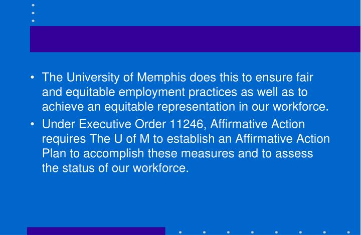 The University of Memphis does this to ensure fair and equitable employment practices as well as to achieve an equitable representation in our workforce.