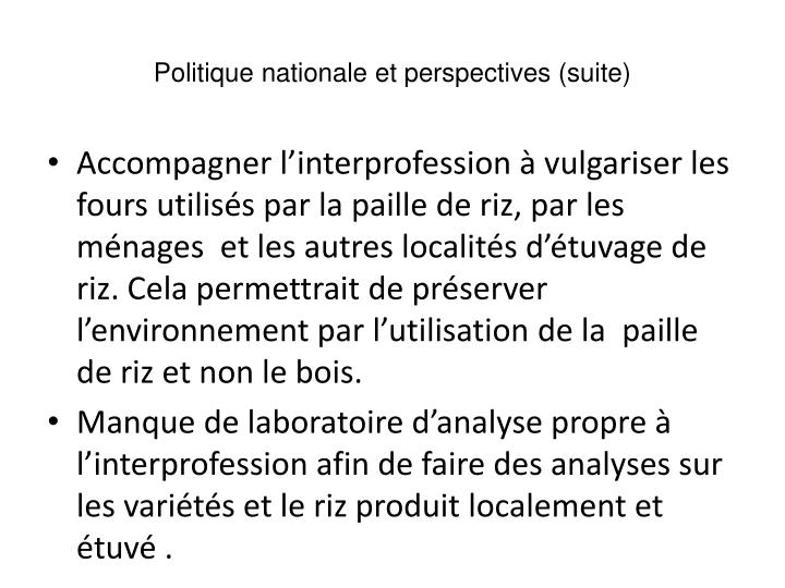 Politique nationale et perspectives (suite)