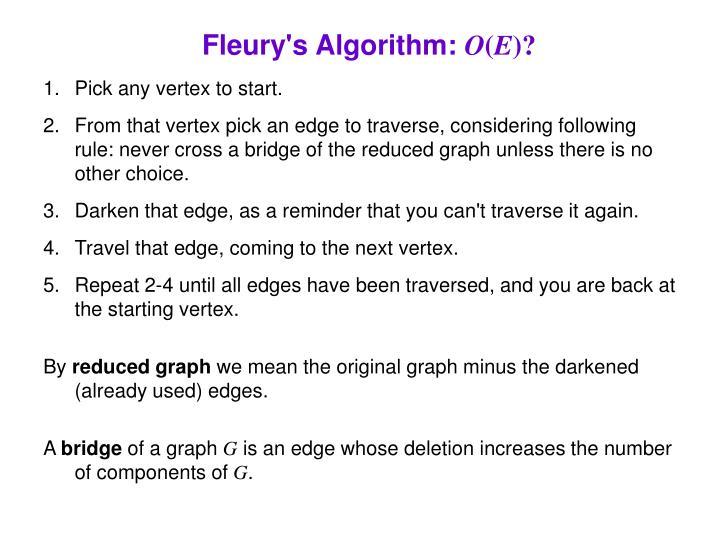 Fleury's Algorithm: