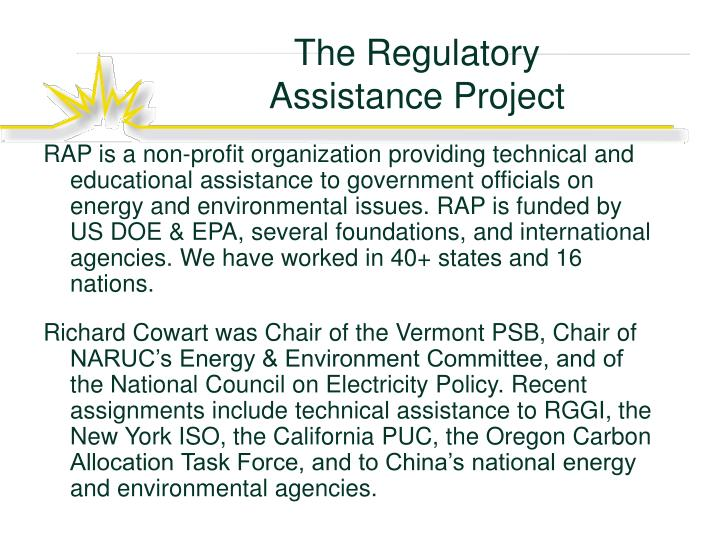 regulatory assistance project Learn about working at the regulatory assistance project (rap) join linkedin today for free see who you know at the regulatory assistance project (rap.