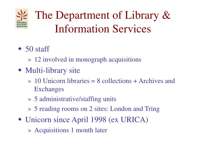 The Department of Library & Information Services