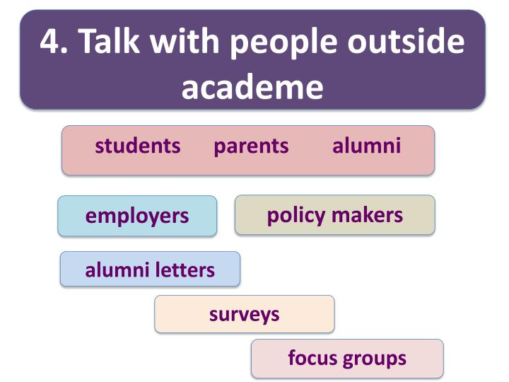 4. Talk with people outside academe
