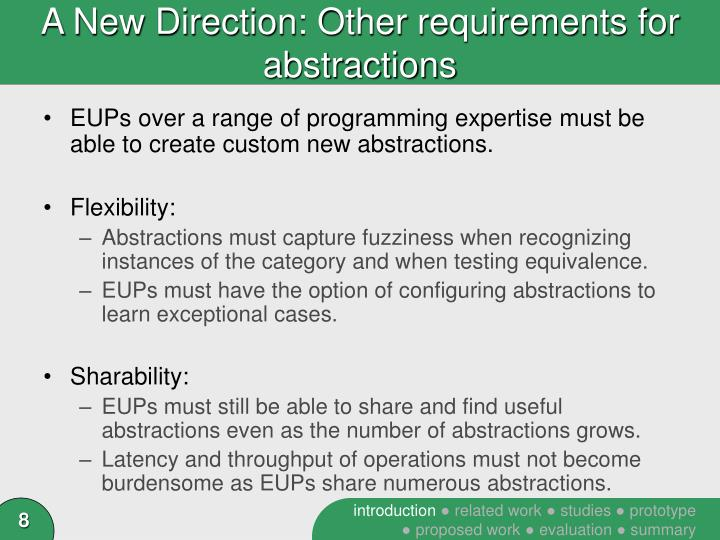 A New Direction: Other requirements for abstractions