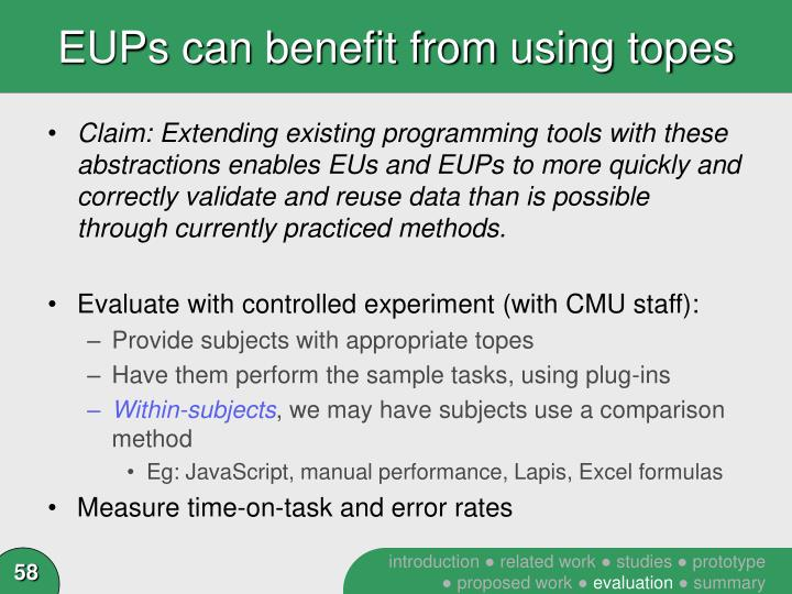 EUPs can benefit from using topes