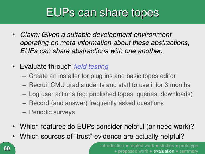EUPs can share topes