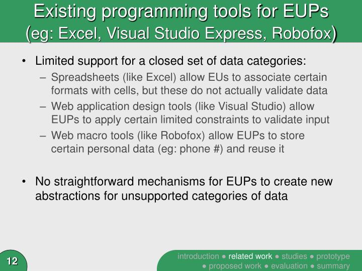 Existing programming tools for EUPs