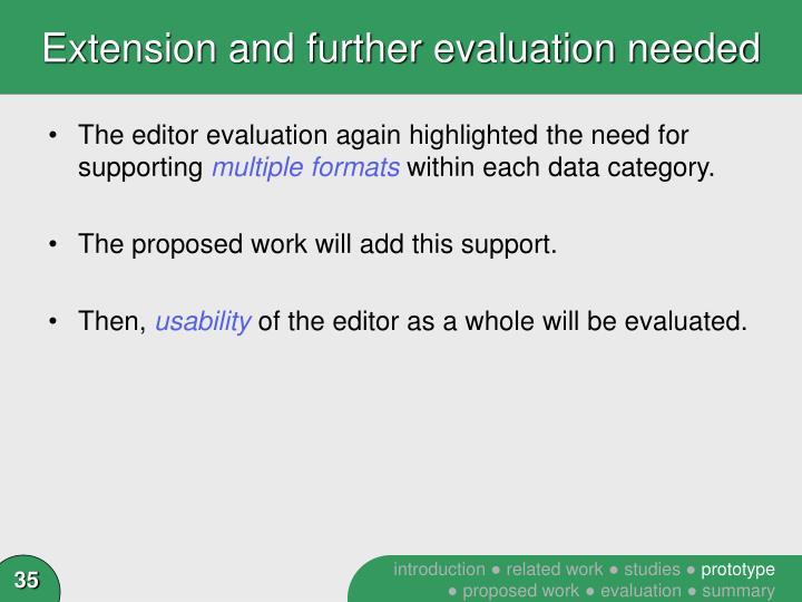 Extension and further evaluation needed