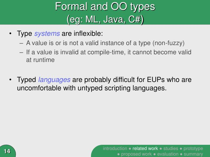 Formal and OO types