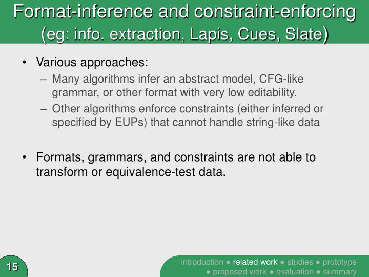 Format-inference and constraint-enforcing