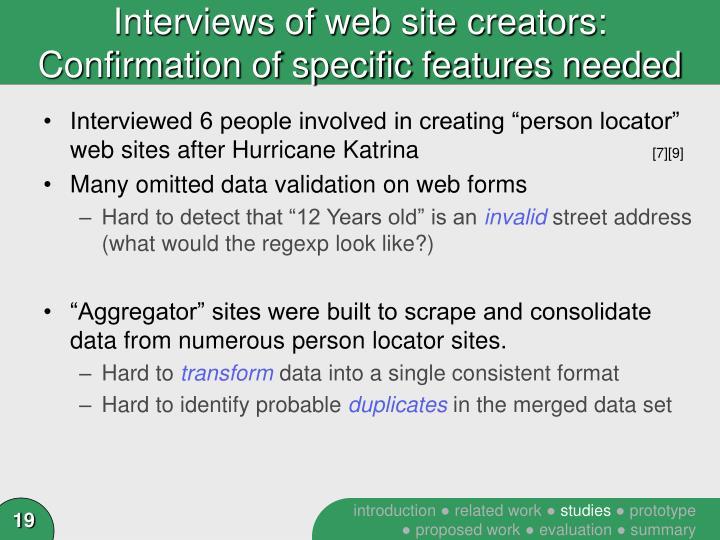 Interviews of web site creators: