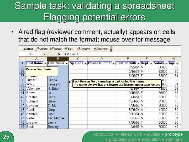 Sample task: validating a spreadsheet