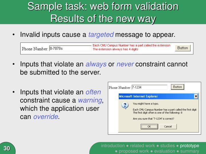 Sample task: web form validation