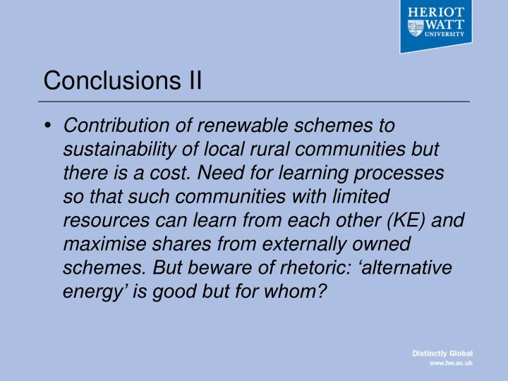 Conclusions II