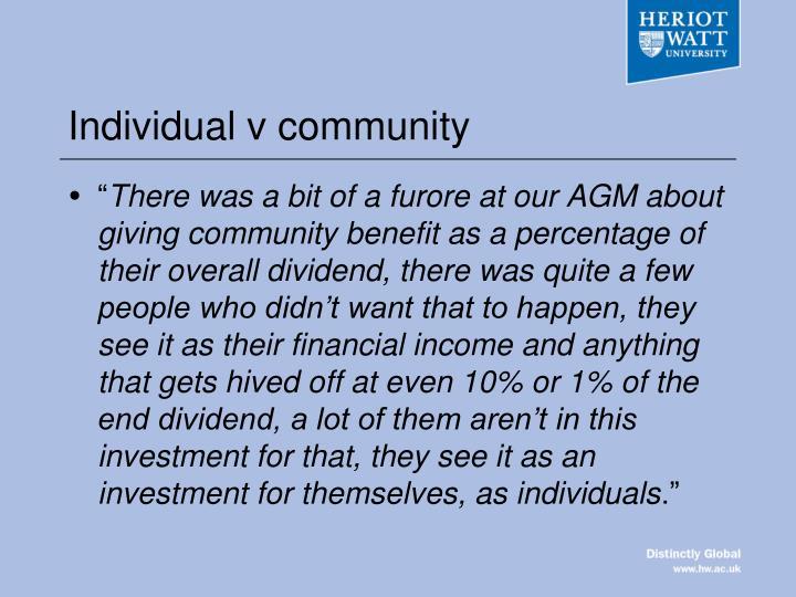 Individual v community