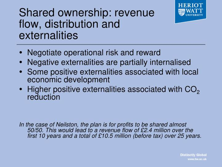 Shared ownership: revenue flow, distribution and externalities