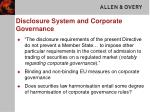 disclosure system and corporate governance