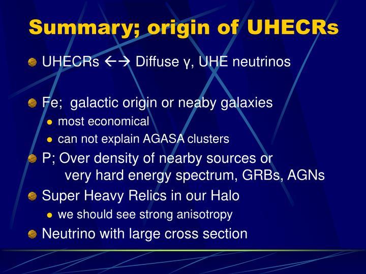Summary; origin of UHECRs