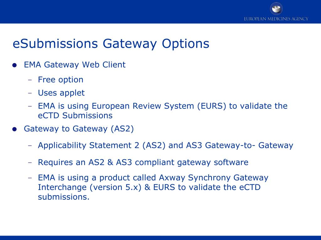 PPT - eSubmissions via EMA Gateway and Web Client PowerPoint