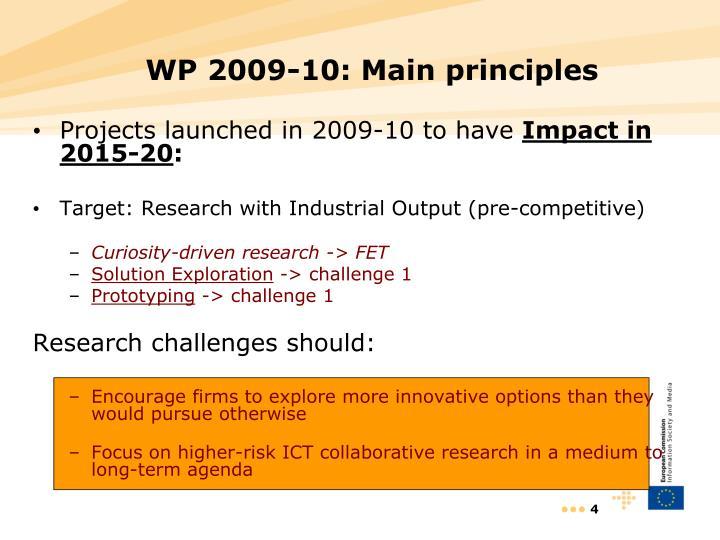 WP 2009-10: Main principles
