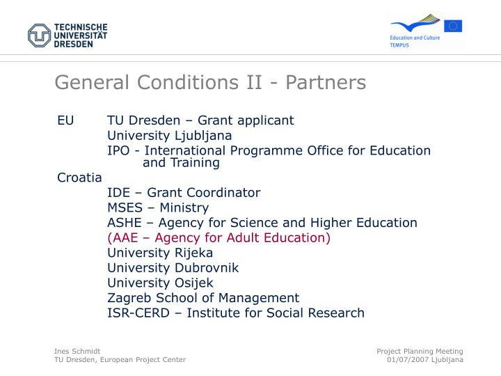 General Conditions II - Partners