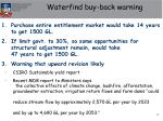 waterfind buy back warning