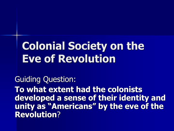extent had colonists developed sense their identity and un The concept of self determination, as articulated in the charter of the united nations (art1, para 2 and art 55), and reiterated in the famous declaration on the granting of independence to colonial countries and peoples (1961), was principally developed to accommodate the legitimacy of the struggle of the colonial peoples, and peoples.