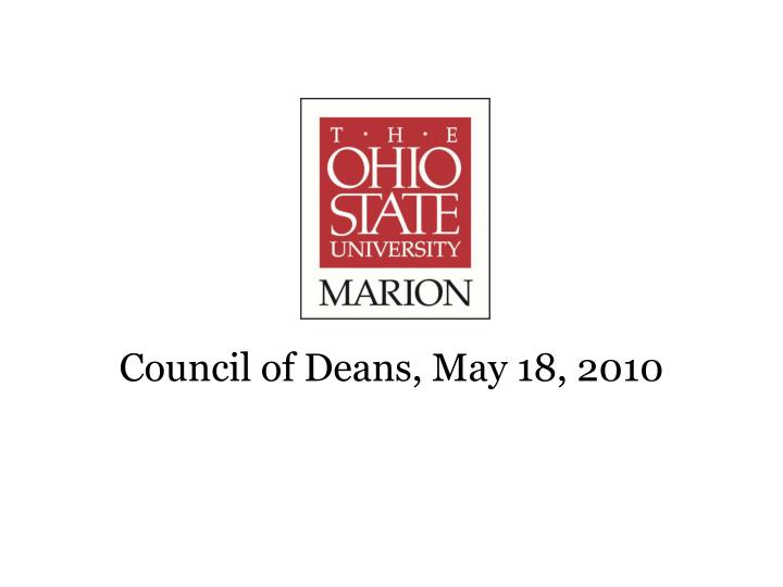 Council of Deans, May 18, 2010