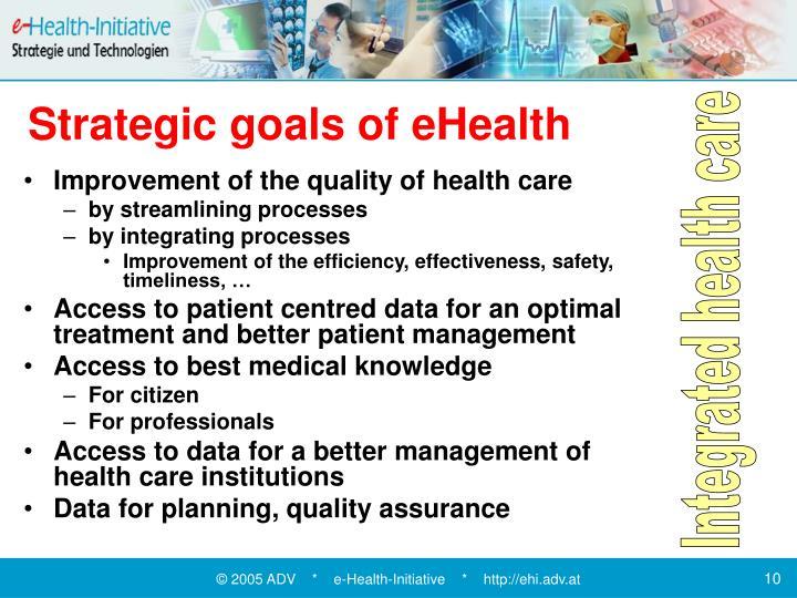 Strategic goals of eHealth