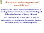prevention and management of natural disaster
