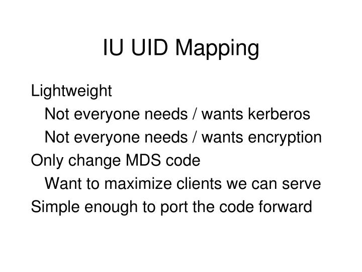 IU UID Mapping