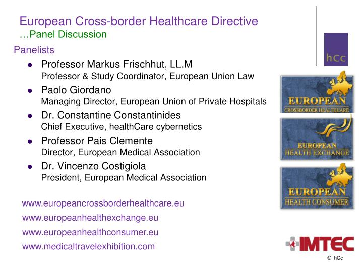 European cross border healthcare directive panel discussion