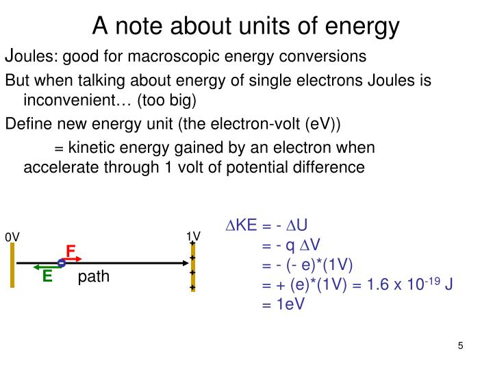 A note about units of energy